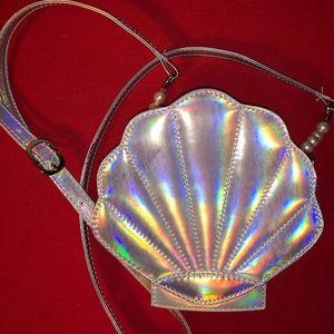 Holographic shell shoulder bag